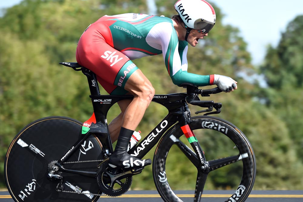 Vasil Kiryienka in action during the 2015 Elite Mens TT World Championships