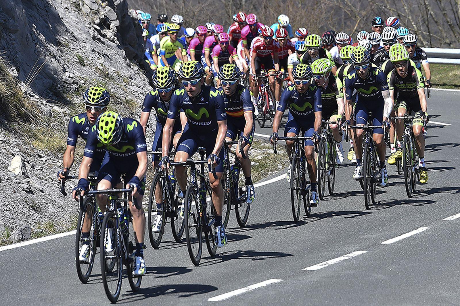 Cycling: 54th Vuelta Pais Vasco 2015/ Stage 2 Illustration Illustratie/ Peloton Peleton/ Landscape Paysage/ Team Movistar (Esp)/ Nairo QUINTANA (Col) Bilbao-Vitoria (175.4Km) Tour Ronde Baskenland/ Etape Rit/ (c)Tim De Waele