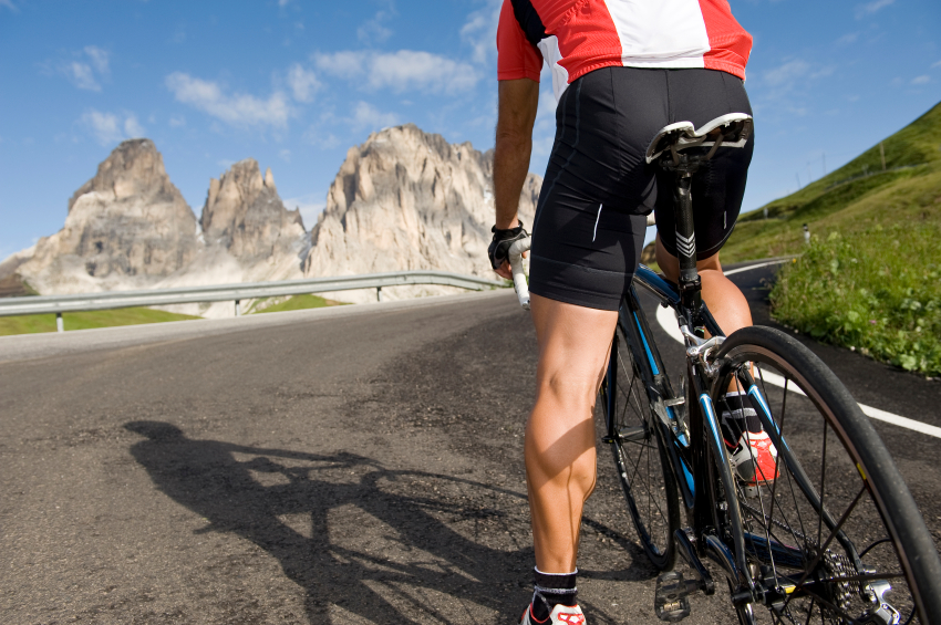 cyclists enjoy the mountains in South Tyrol, the Dolomites quarter known before he again continued his bike