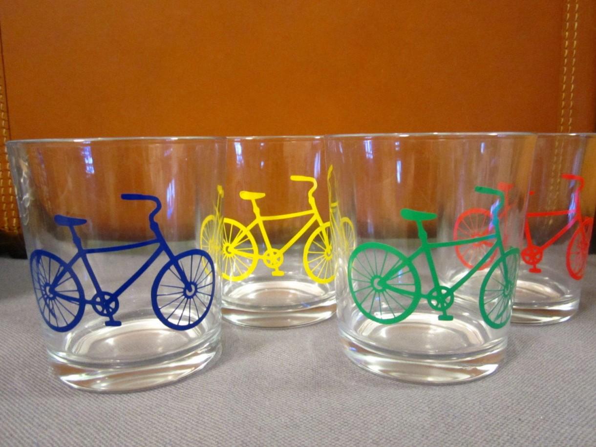 bike theme gift water glasses