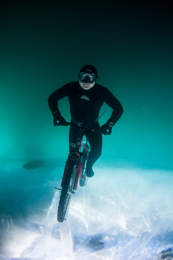 underwater bicycle frozen lake (1)