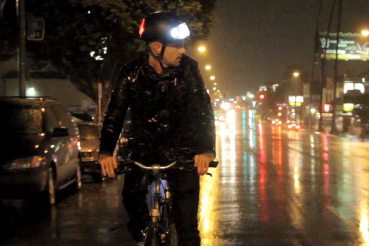 commuting bicycle cars rain night