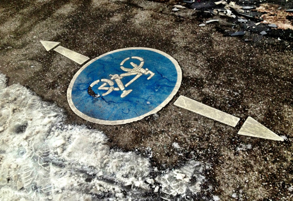 cycle lane badge snow ice