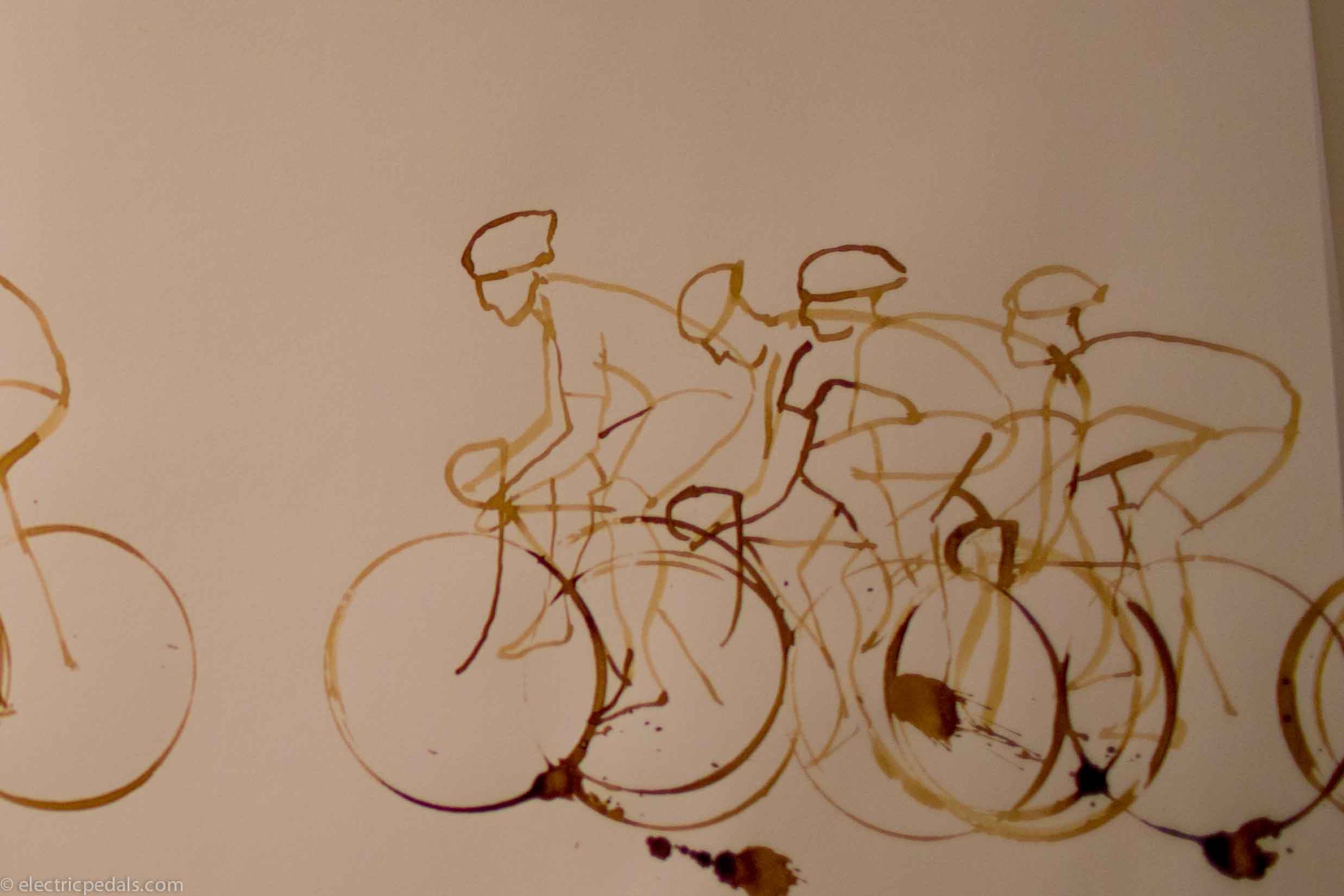 draw of coffee cup road bike