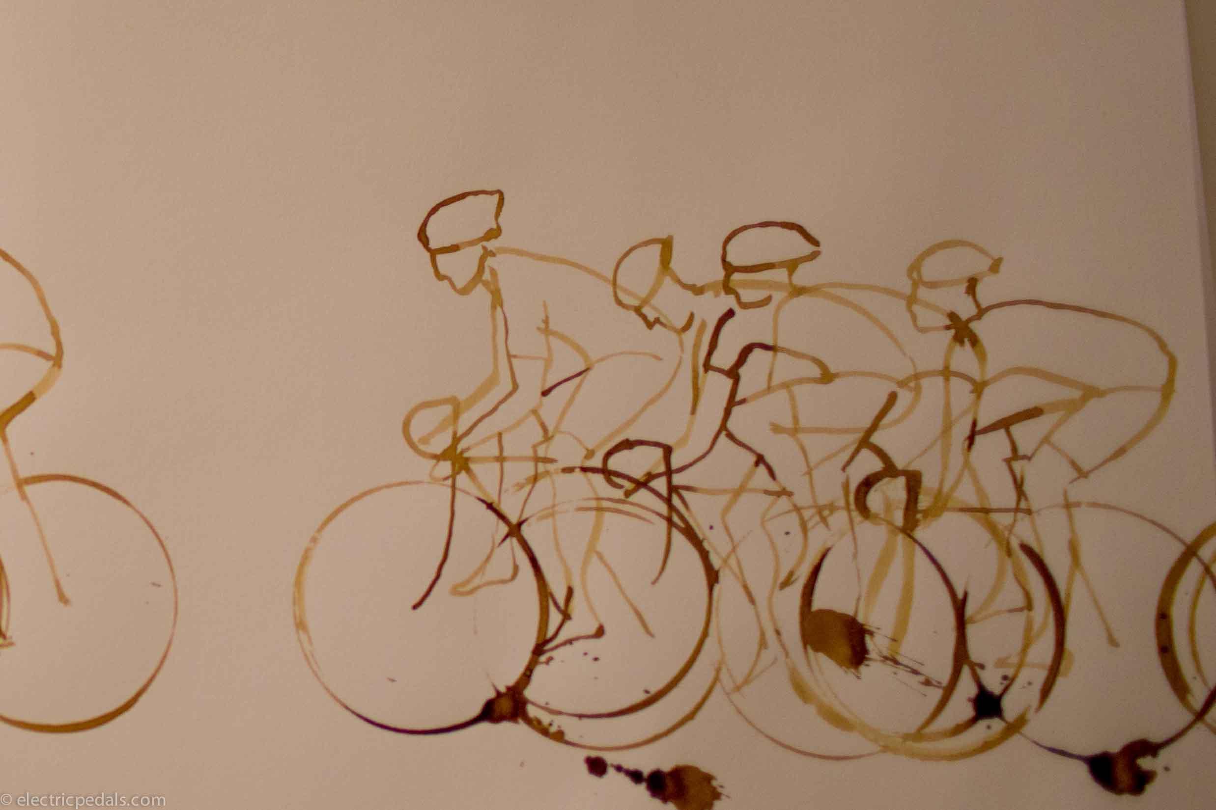 draw of coffee cup road bike