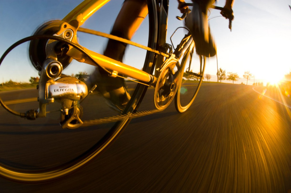 road bike sunset