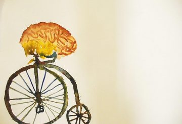 brain riding bicycle penny farthing