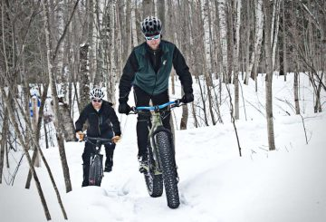 Snow bikers ride on a portion of the Noquemanon Trail Network in Marquette, MI on Monday, March 17, 2014. (Marquettemagazine photo by Ron Caspi)