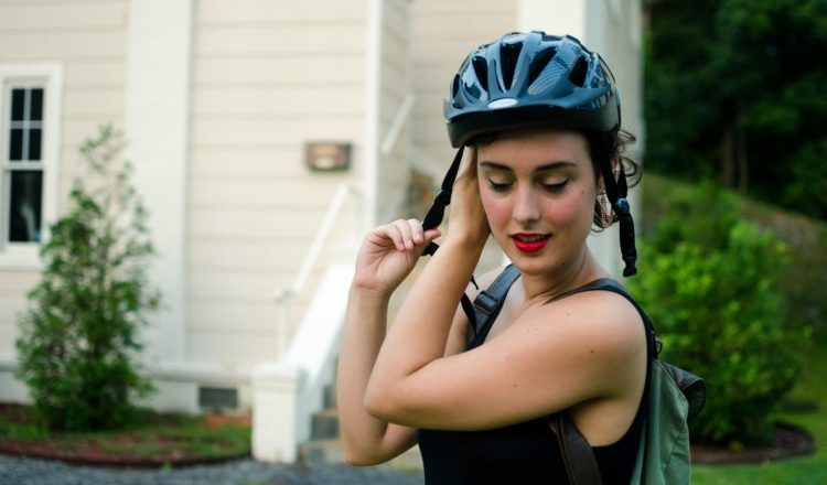 woman bicycle hair helmet (1)