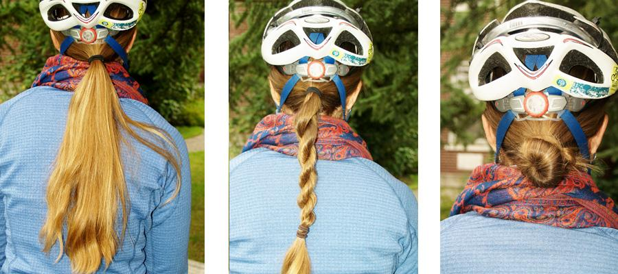 woman bicycle hair helmet (2)