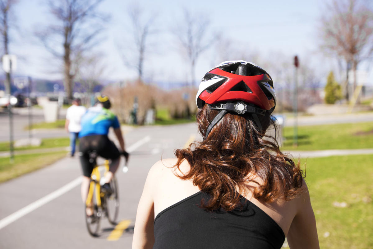 woman bicycle hair helmet (3)
