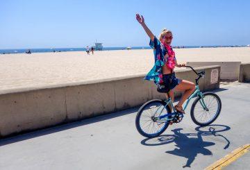happy girl bicycle beach summer