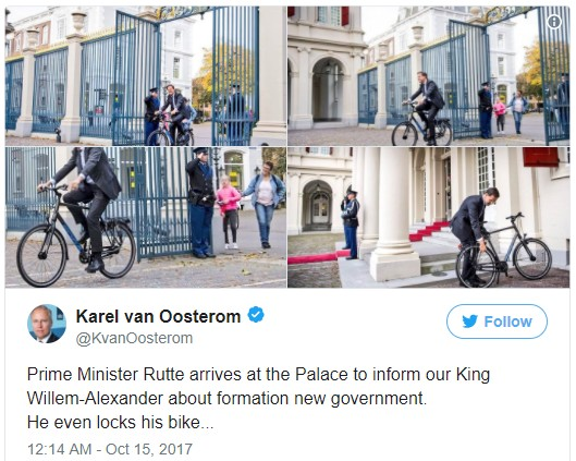 Dutch Prime Minister on bike
